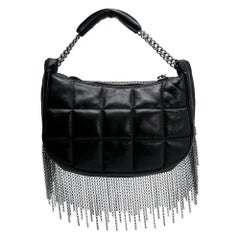Chanel Black Quilted Metal Chained Fringe Bag