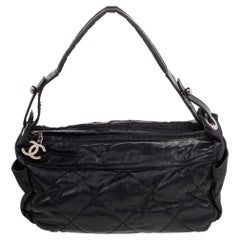 Chanel Black Quilted Nylon Small Biarritz Hobo