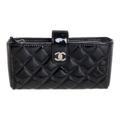 Chanel Black Quilted Patent Leather CC Phone Pouch