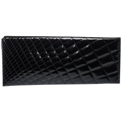 Chanel Black Quilted Patent Leather Gala Zip Clutch