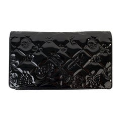 Chanel Black Quilted Patent Leather Icon Symbols Long Wallet
