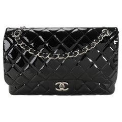 Chanel Black Quilted Patent Leather Jumbo Classic Double Flap Bag