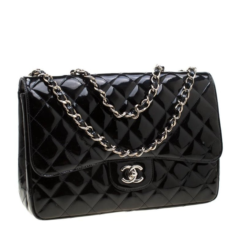 Chanel Black Quilted Patent Leather Jumbo Classic Single Flap Bag For Sale 3