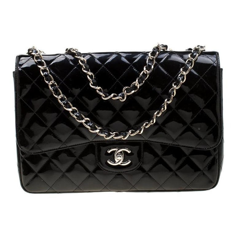 Chanel Black Quilted Patent Leather Jumbo Classic Single Flap Bag For Sale