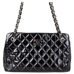 CHANEL black quilted patent leather MADEMOISELLE Shoulder Bag