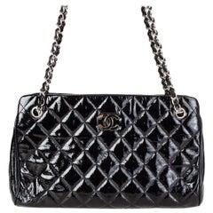 CHANEL black quilted patent leather MADEMOISELLE Shoulder Bag
