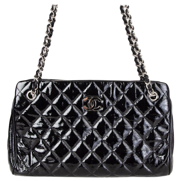 CHANEL black quilted patent leather MADEMOISELLE Shoulder Bag For Sale