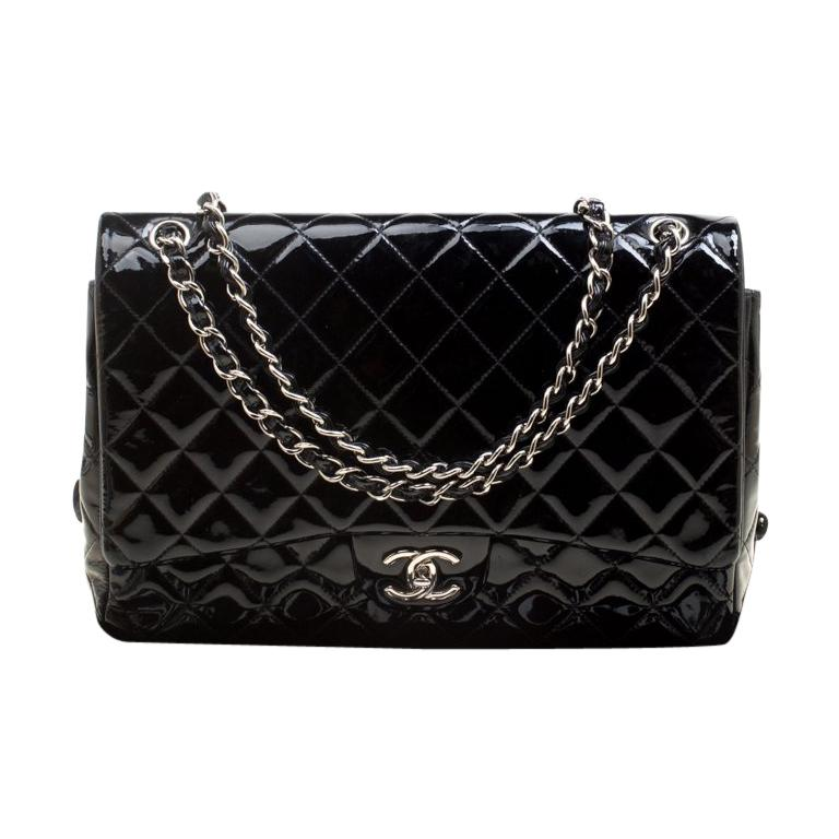 cc9e1887ce19 Chanel Black Quilted Patent Leather Maxi Classic Double Flap Bag For Sale
