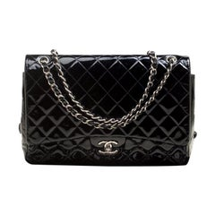 Chanel Black Quilted Patent Leather Maxi Classic Double Flap Bag