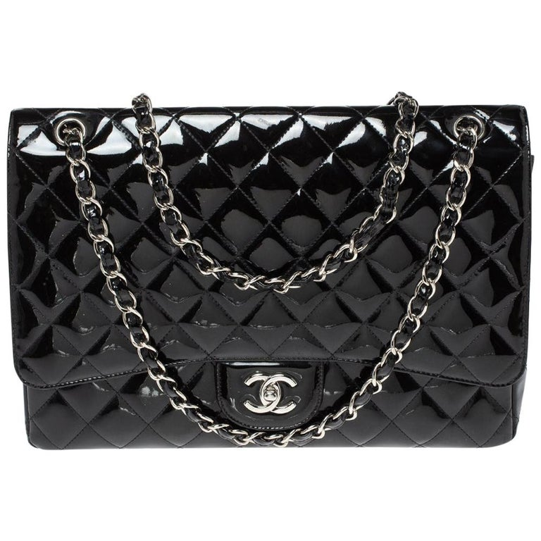 Chanel Black Quilted Patent Leather Maxi Classic Single Flap Bag For Sale