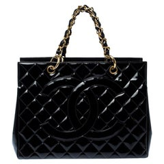Chanel Black Quilted Patent Leather Petite Shopping Tote