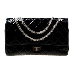 Chanel Black Quilted Patent Leather Reissue 227 Flap Bag