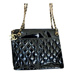 Chanel Black Quilted Patent Leather Tote Bag with Gold Chain and Hardware
