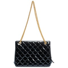 Chanel Black Quilted Patent Leather Vintage Chain Tote