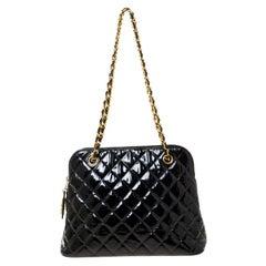 Chanel Black Quilted Patent Leather Vintage Dome Shoulder Bag