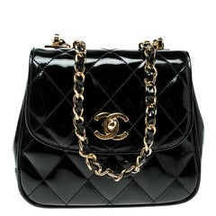 Chanel Black Quilted Patent Leather Vintage Mini Single Flap Bag
