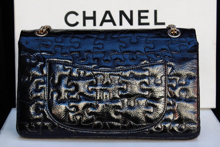 """Black Chanel black quilted patent leather""""Puzzle"""" bag model 2.55, 2008-2009 For Sale"""