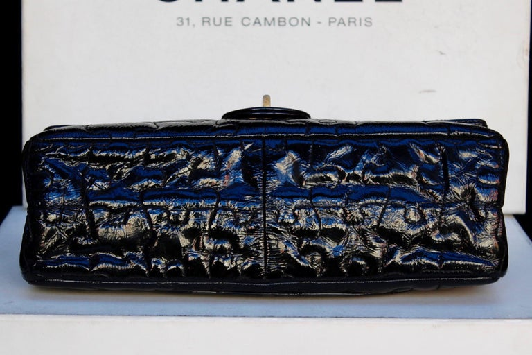 """Women's Chanel black quilted patent leather""""Puzzle"""" bag model 2.55, 2008-2009 For Sale"""