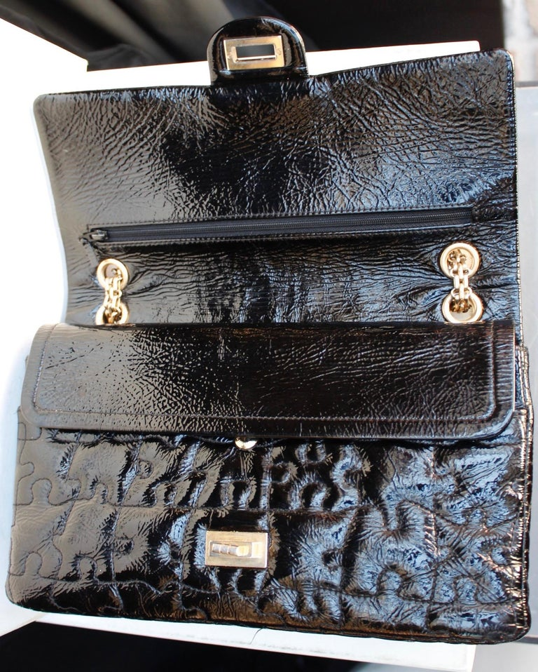"""Chanel black quilted patent leather""""Puzzle"""" bag model 2.55, 2008-2009 For Sale 1"""