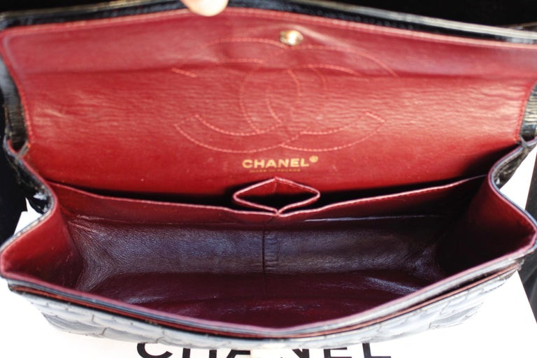 """Chanel black quilted patent leather""""Puzzle"""" bag model 2.55, 2008-2009 For Sale 3"""