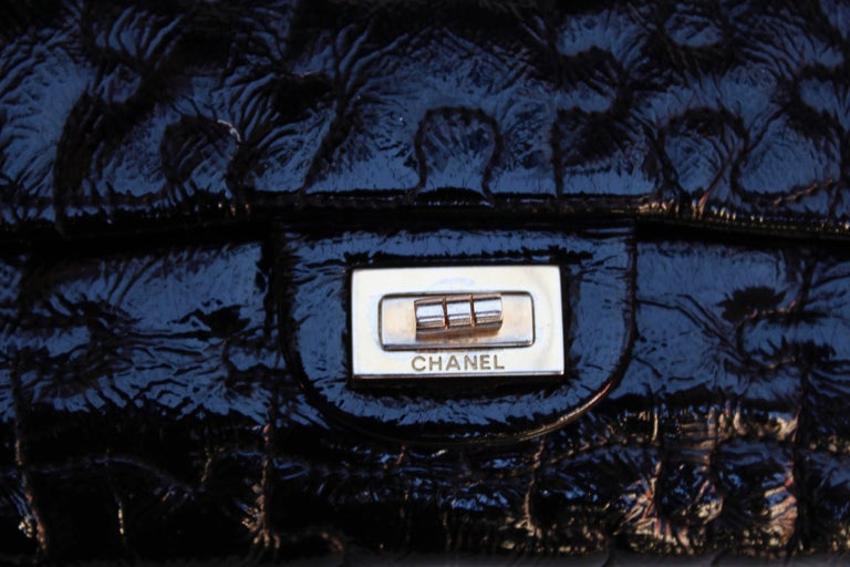 """Chanel black quilted patent leather""""Puzzle"""" bag model 2.55, 2008-2009 For Sale 4"""