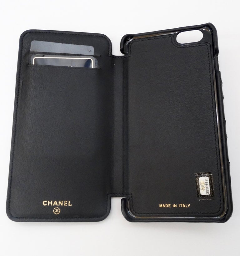 Chanel Black Quilted Rare Casino IPhone 7/8 Plus Wallet Case  In Good Condition For Sale In Scottsdale, AZ
