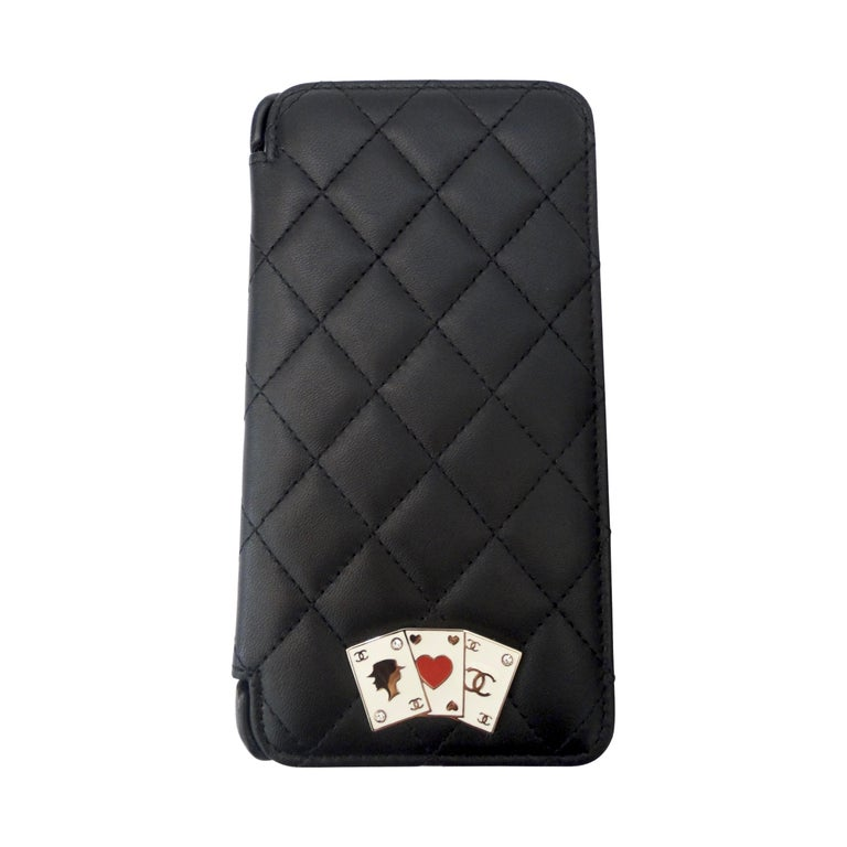 Chanel Black Quilted Rare Casino IPhone 7/8 Plus Wallet Case  For Sale