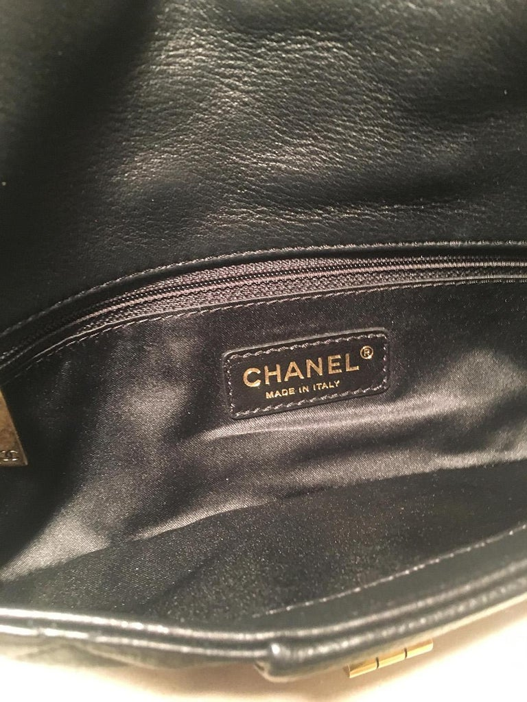Chanel Black Quilted Sheepskin Leather 2.55 Reissue Mademoiselle Clutch For Sale 3
