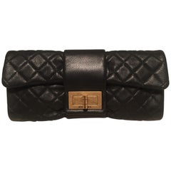Chanel Black Quilted Sheepskin Leather 2.55 Reissue Mademoiselle Clutch