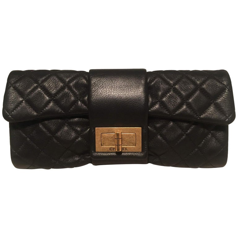 Chanel Black Quilted Sheepskin Leather 2.55 Reissue Mademoiselle Clutch For Sale