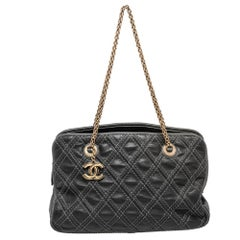 Chanel Black Quilted Stitch Leather Triptych Tote