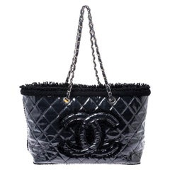 Chanel Black Quilted Vinyl and Tweed CC Tote
