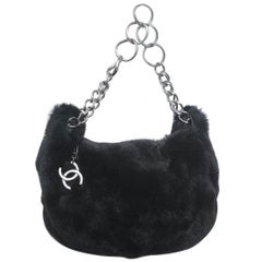 Chanel Black Rabbit Small Hobo with Silver Hardware