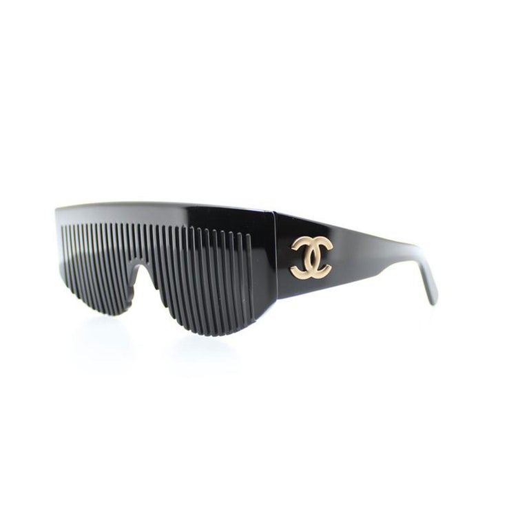 Chanel Black Rare Vintage 90's Runway Limited Edition Collectors Sunglasses For Sale 1