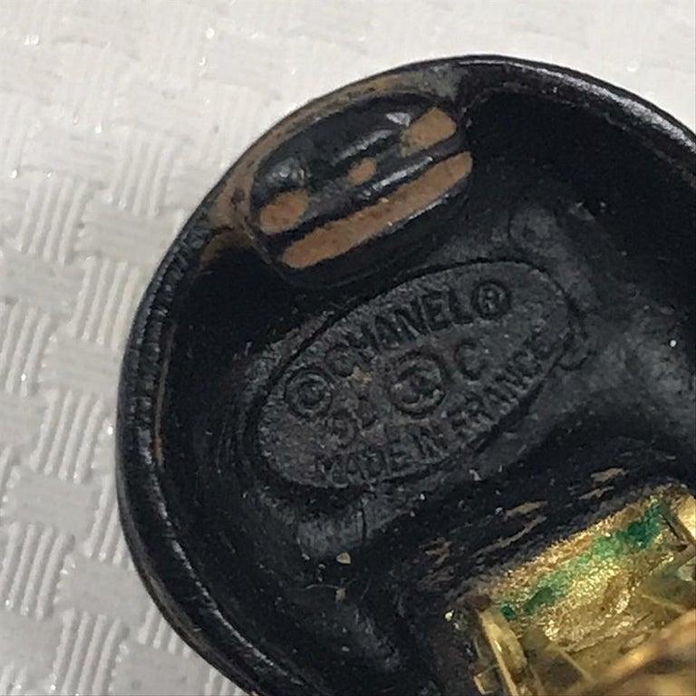 Chanel Black Rare Vintage Clover Dangle Hoop Clip-On Earrings For Sale 1