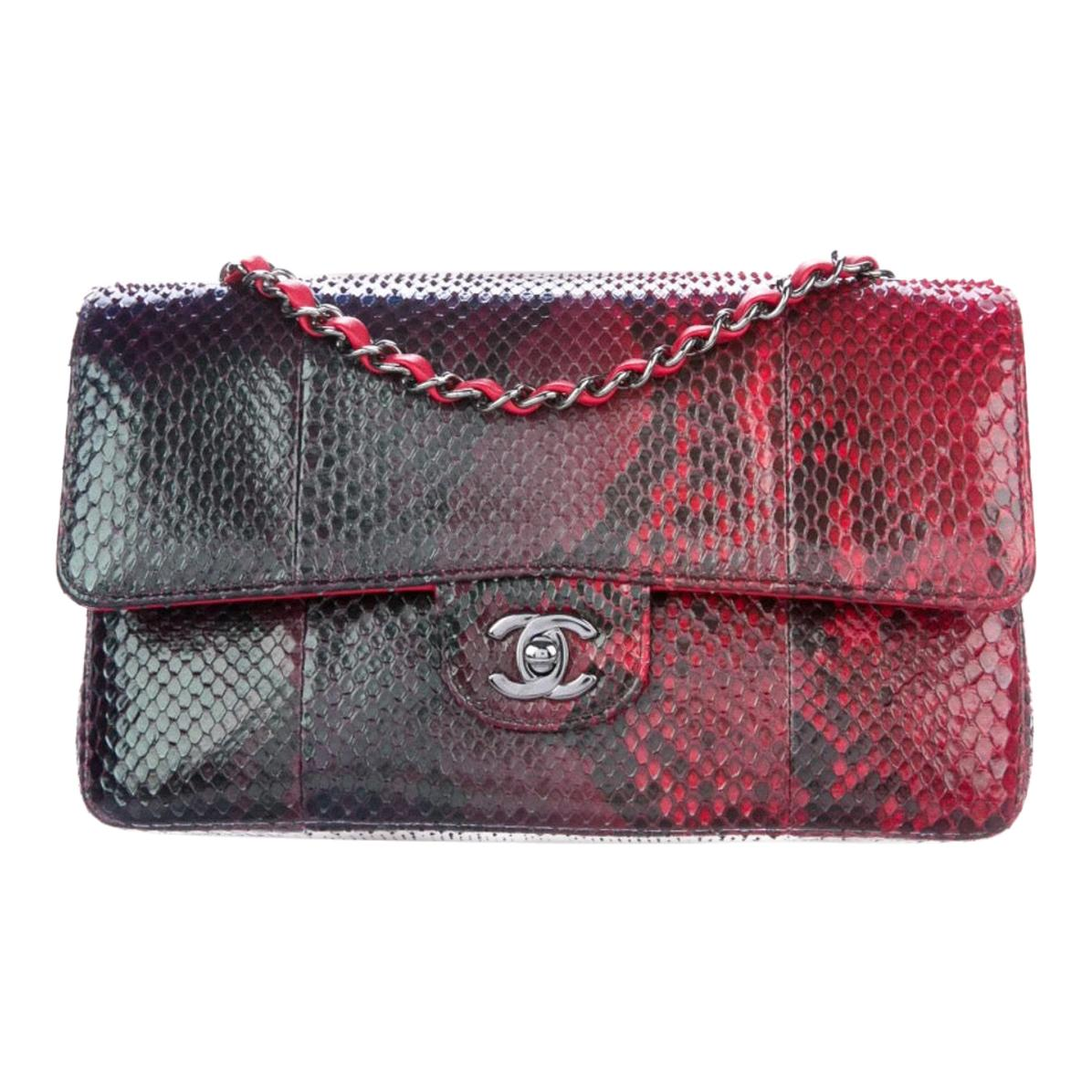 Chanel Black Red Green Python Leather Exotic Small  Evening Shoulder Flap Bag
