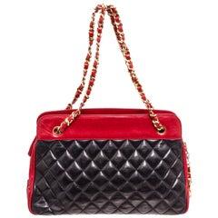 Chanel Black Red Lambskin Leather Chain Shoulder Bag