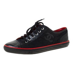 Chanel Black/Red Quilted Nylon and Leather CC Low Top Sneakers Size 40