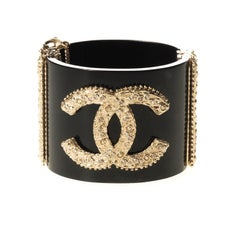 Chanel Black Resin and Crystal CC Wide Cuff Bracelet 2013