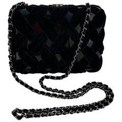 Chanel Black Resin Evening Clutch/Crossbody Bag w. Velvet Quilting rt. $2,795