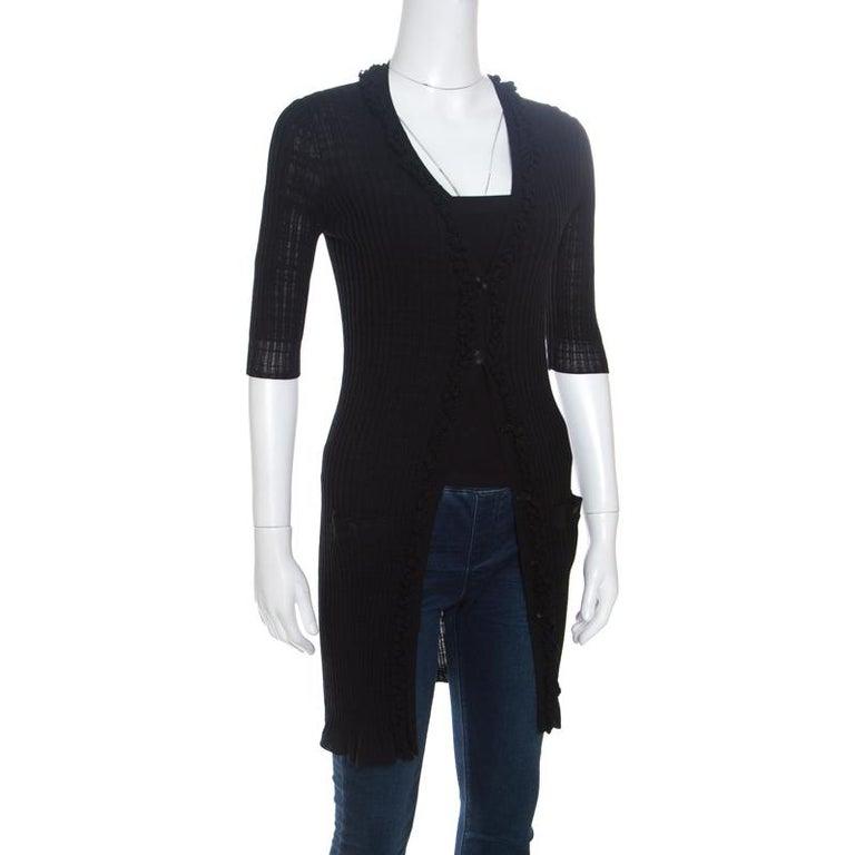 Chanel Black Rib Knit Ruffle Trim Long Cardigan S In Good Condition For Sale In Dubai, Al Qouz 2