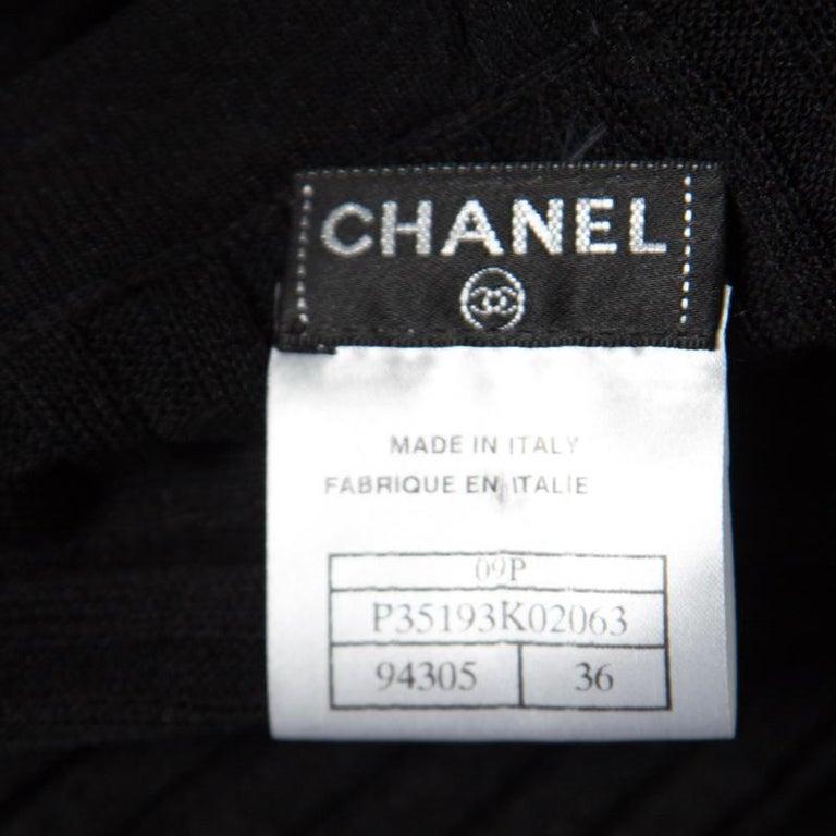 Chanel Black Rib Knit Ruffle Trim Long Cardigan S For Sale 1