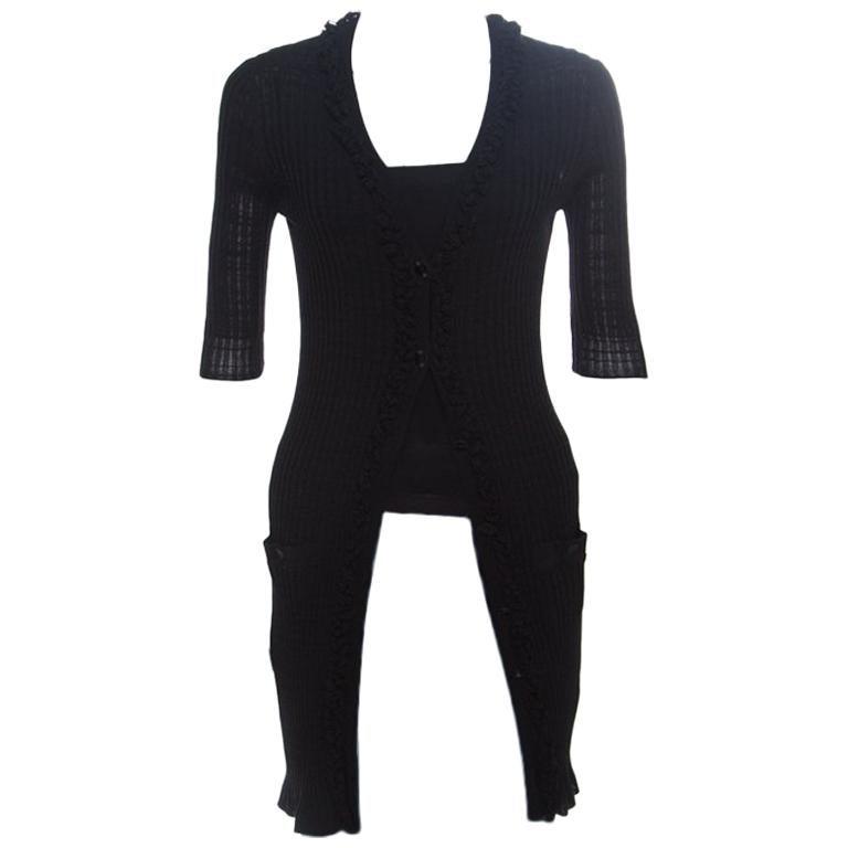 Chanel Black Rib Knit Ruffle Trim Long Cardigan S For Sale
