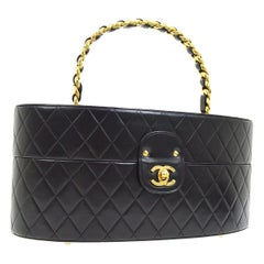 Chanel Black Round Leather Large Travel Carryall Top Handle Satchel Bag