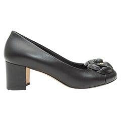 Chanel Black Round-Toe Camelia Pumps