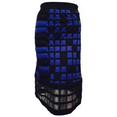 Chanel Black, Royal Blue Colorblocked Quilted A-Line Skirt With Sheer Hem 42 EU