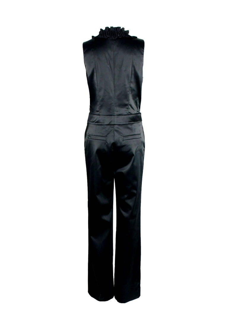 NEW Chanel Black Ruched Evening Tuxedo Smoking Style Jumpsuit Overall In New Condition For Sale In Switzerland, CH