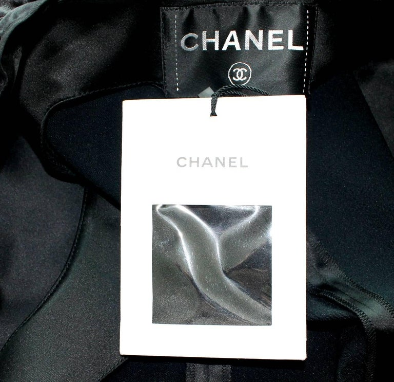 NEW Chanel Black Ruched Evening Tuxedo Smoking Style Jumpsuit Overall For Sale 3
