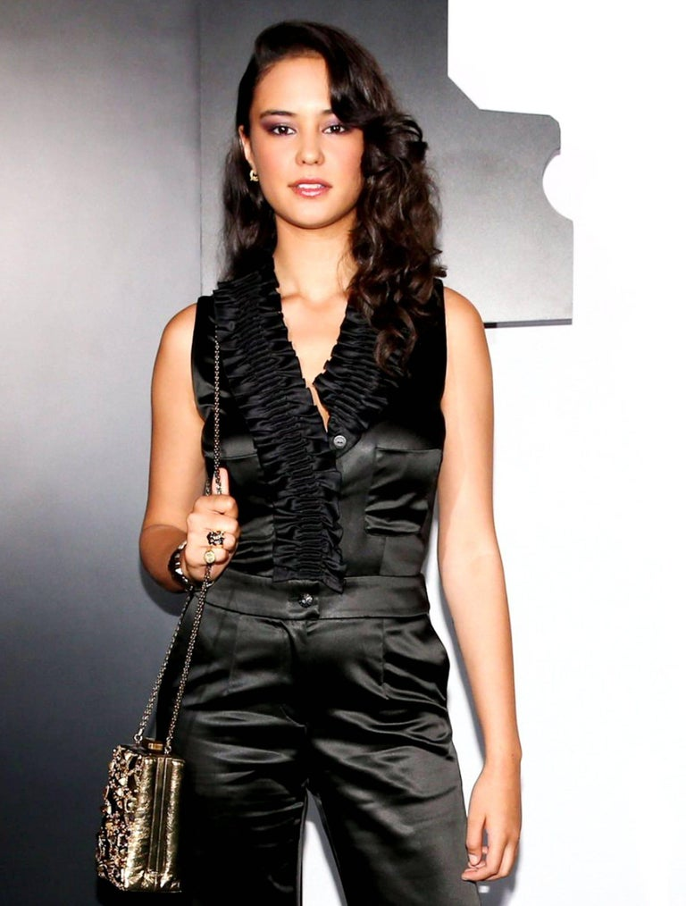 NEW Chanel Black Ruched Evening Tuxedo Smoking Style Jumpsuit Overall For Sale 4