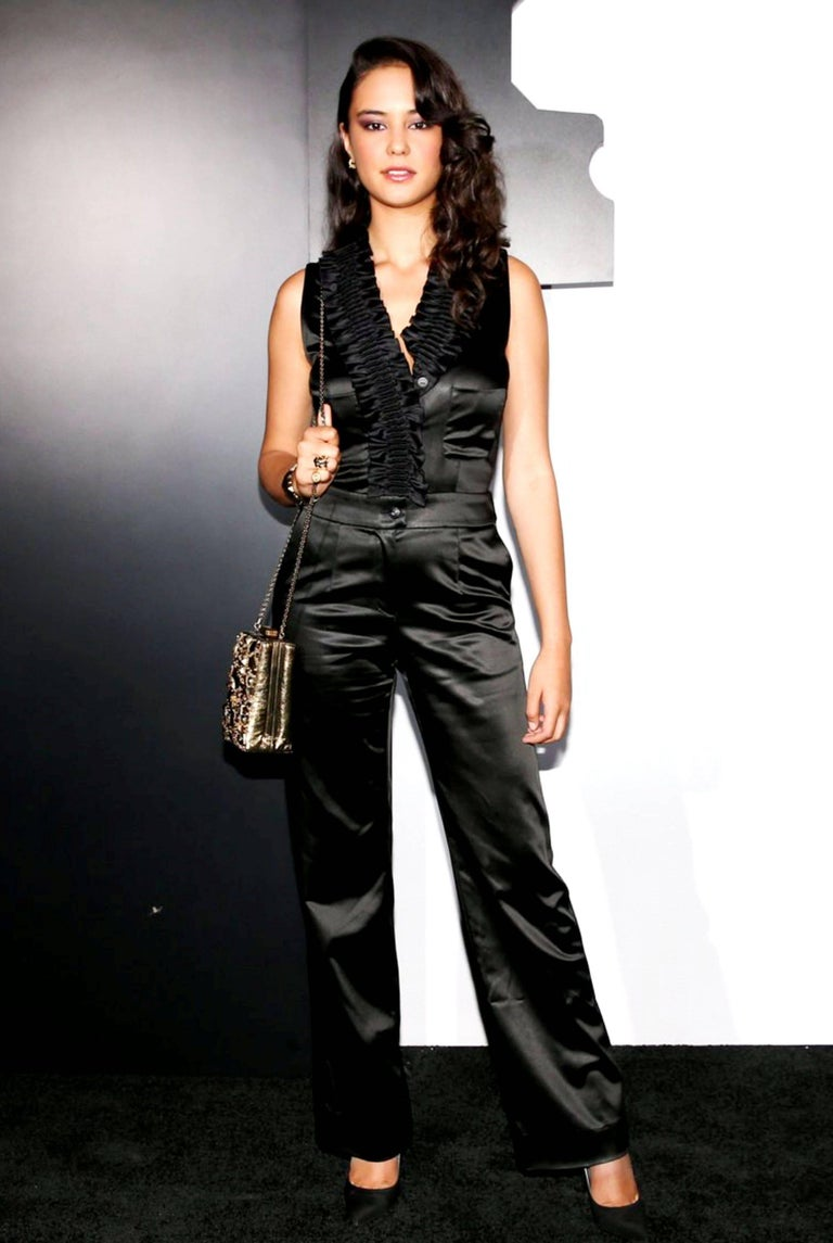 NEW Chanel Black Ruched Evening Tuxedo Smoking Style Jumpsuit Overall For Sale 5